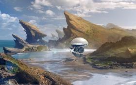 Картинка море, небо, космос, горы, будущее, фантастика, скалы