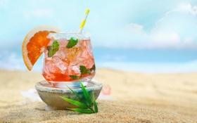 Обои лед, песок, пляж, лето, отдых, коктейль, мята