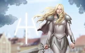 Картинка девушка, меч, аниме, блондинка, доспех, Teresa, claymore