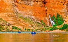 Обои природа, скала, река, лодка, гора, водопад, каньон