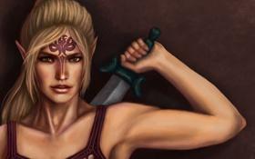 Обои девушка, тату, арт, кинжал, эльфийка, татуировки, Dragon Age
