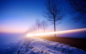 Обои зима, дорога, свет, снег, ночь, вечер, выдержка