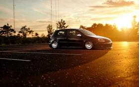Картинка закат, stance, golf, car, тюнинг, фольксваген гольф, volkswagen