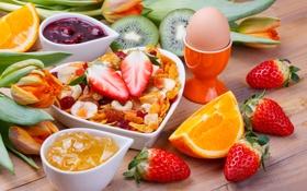 Обои яйцо, апельсин, завтрак, киви, клубника, фрукты, джем