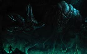 Обои океан, человек, чудовище, цепи, Cthulhu, божество, на дне