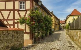 Картинка мостовая, переулок, улица, Koenigsberg, Германия, фанари, дома