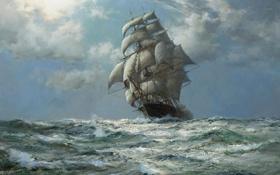 Обои море, парусник, Montague Dawson