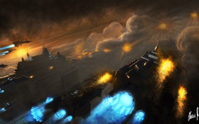 Обои город, дым, взрывы, корабли, арт, нападение, Warhammer