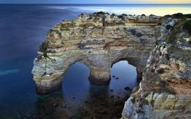 Картинка море, небо, скалы, горизонт, арка