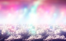 Обои облака, сияние, небо