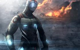 Обои огонь, костюм, крушение, человек, аварийная посадка, падение, выживший