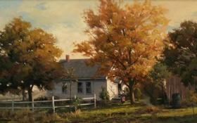 Обои осень, деревья, дом, женщина, дым, забор, окна