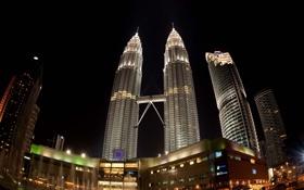 Обои Огни, Ночь, Башни, Малайзия, Куала-Лумпур, Петронас