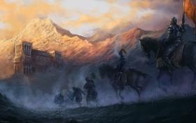 Картинка горы, город, туман, конь, всадники, поход, знамя