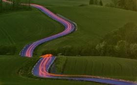 Обои дорога, природа, огни, поля, выдержка