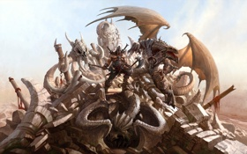 Обои камни, Dragon Eternity, дракон, воин, драконы вечности, арт, обломки