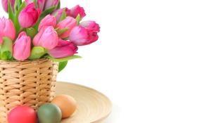 Обои цветы, яйца, весна, пасха, тюльпаны