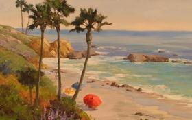 Картинка зонты, скалы, зонтики, волны, море, пляж, берег