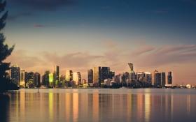 Картинка закат, город, Sunset, небоскребы, Miami Skyline