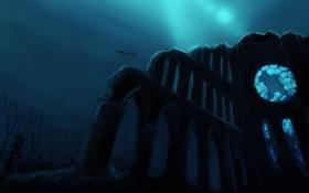 Картинка рыба, арки, море, руины, под водой, акула, арт