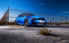 Обои синий, bmw, бмв, купе, вид спереди, blue, e92
