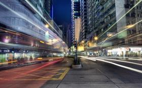 Картинка город, огни, выдержка, нити, Hong Kong, Wan Chai