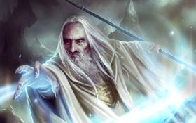 Обои магия, рука, арт, посох, колдун, Guardians of Middle-earth, Саруман