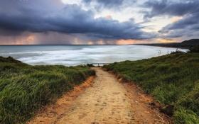 Картинка дорога, море, закат, тучи, берег