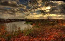 Картинка город, осень, небо