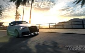 Картинка Need for Speed world, дорога, гонка, горы, Audi A1, пальмы