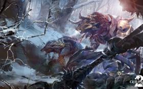 Обои снег, арт, монстры, online, art, guild wars 2, создания