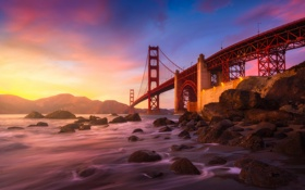 Обои california, Golden Gate Bridge, sunset