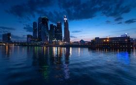 Картинка ночь, огни, река, здания, Москва, Россия, архитектура