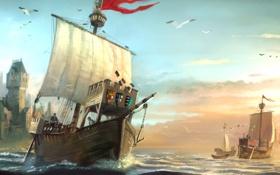 Обои море, чайки, арт, порт, герб, Anno 1404, бриг