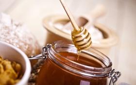 Картинка стол, мед, ложка, деревянная, сладкое, баночка