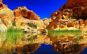 Обои камни, горы, небо, скалы, озеро