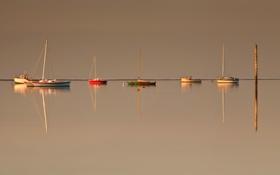 Картинка небо, лодка, утро, яхта, гавань