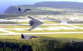 Обои море, поле, полет, ландшафт, истребитель, B-2, бомбардировщик