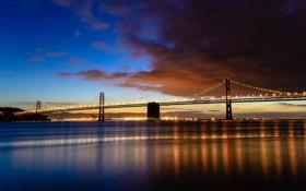 Обои город, река, рассвет, мост, отражение, огни