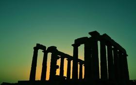 Обои колонны, небо, архитектура, зарево, храм Посейдона, Греция