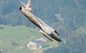 Обои полет, земля, истребитель, бомбардировщик, Hawker Hunter
