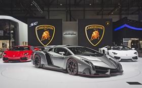 Обои Lamborghini, and, Aventador, 2013, Veneno, presentation, Geneva