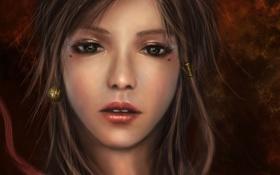 Картинка девушка, украшения, лицо, портрет, арт