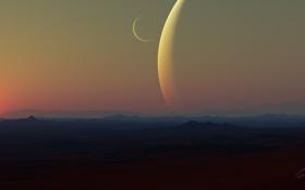 Обои солнце, поверхность, ландшафт, планета, спутник, арт, рельеф
