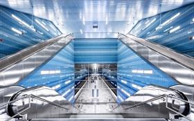 Обои свет, отражение, люди, Германия, лестницы, Гамбург, эскалаторы