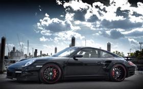 Обои машина, авто, небо, тучи, Porsche
