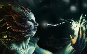 Картинка девушка, магия, руки, арт, шипы, профиль, под водой