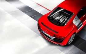Обои Audi, Красный, Машина, V10, Номер, Двигатель