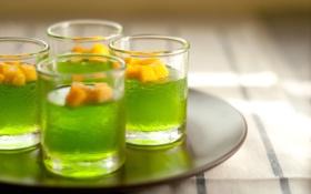 Картинка стаканы, фрукты, напитки, коктейли, поднос