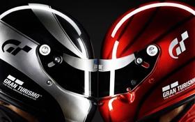 Обои красный, серебристый, шлем, профиль, головы, мужчины, лицом к лицу